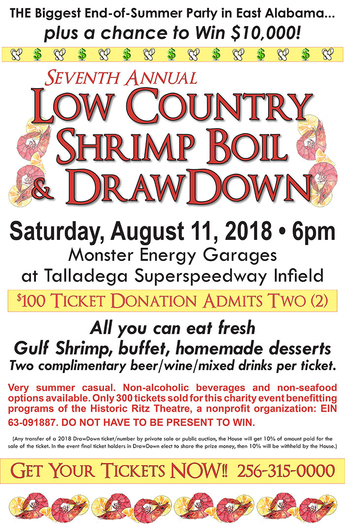 Low Country Shrimp Boil and Drawdown @ Monster Energy Garages Talladega Superspeedway | Lincoln | Alabama | United States